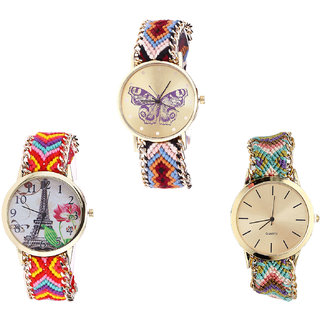 Neutron Contemporary Gift Butterfly And Paris Eiffel Tower Analogue Multi Color Color Girls And Women Watch - G138-G144-G167 (Combo Of  3 )