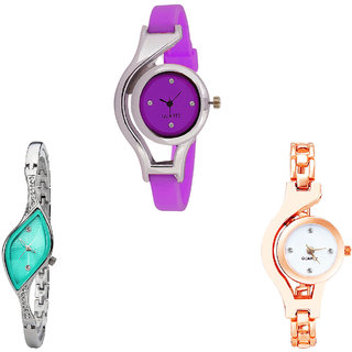 Neutron Contemporary Style World Cup And Chain Analogue Purple, Silver And Rose Gold Color Girls And Women Watch - G4-G406-G69 (Combo Of  3 )