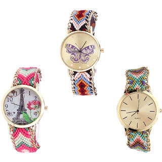 Neutron Contemporary Technology Butterfly And Paris Eiffel Tower Analogue Multi Color Color Girls And Women Watch - G138-G152-G167 (Combo Of  3 )