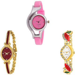Neutron Treading Collection World Cup And Peacock Analogue Pink And Gold Color Girls And Women Watch - G3-G122-G116 (Combo Of  3 )