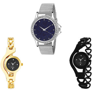 Neutron Treading Traditional Love Valentine And Chain Analogue Silver, Gold And Black Color Girls And Women Watch - G279-G336-G68 (Combo Of  3 )
