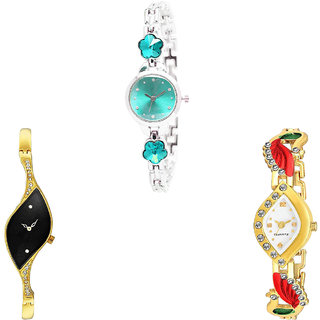 Neutron Classical High Quality Flower Dimond And Peacock Analogue Silver And Gold Color Girls And Women Watch - G339-G354-G116 (Combo Of  3 )