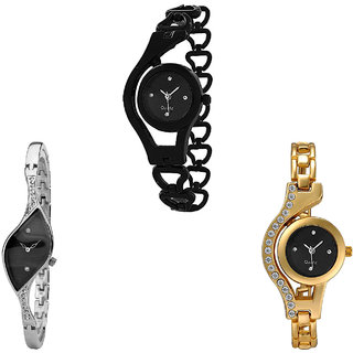 Neutron Classical Valentine Chain Analogue Black, Silver And Gold Color Girls And Women Watch - G68-G352-G114 (Combo Of  3 )