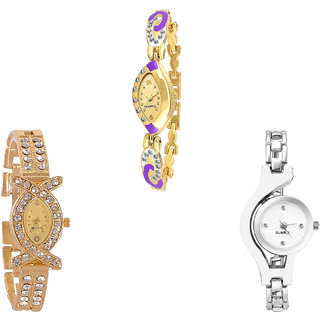 Neutron Contemporary Model Chain Analogue Gold And Silver Color Girls And Women Watch - G124-G125-G70 (Combo Of  3 )