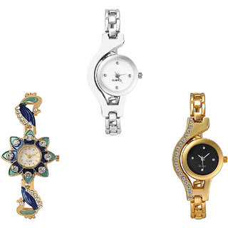 Neutron Best Italian Designer Chain And Peacock Analogue Silver And Gold Color Girls And Women Watch - G70-G119-G114 (Combo Of  3 )