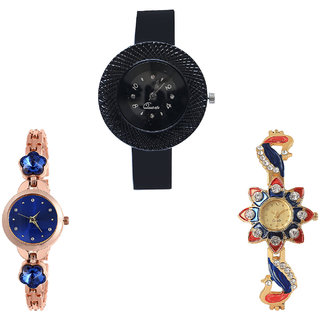 Neutron Latest 3D Design Chronograph, Flower Dimond And Peacock Analogue Black, Rose Gold And Gold Color Girls And Women Watch - G57-G340-G118 (Combo Of  3 )
