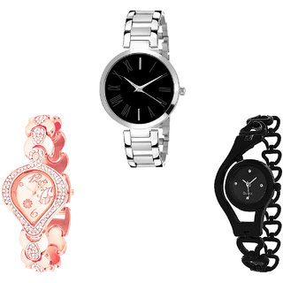 Neutron Classical Gift Flower And Chain Analogue Silver, Rose Gold And Black Color Girls And Women Watch - G299-G230-G68 (Combo Of  3 )