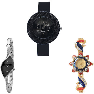 Neutron Latest Fashionable Chronograph And Peacock Analogue Black, Silver And Gold Color Girls And Women Watch - G57-G352-G118 (Combo Of  3 )