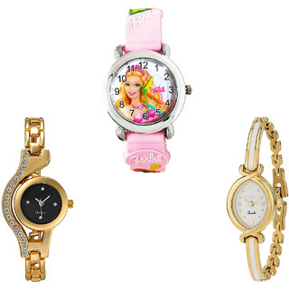 Neutron Latest Traditional Barbie Doll And Chain Analogue Pink And Gold Color Girls And Women Watch - G7-G114-G123 (Combo Of  3 )
