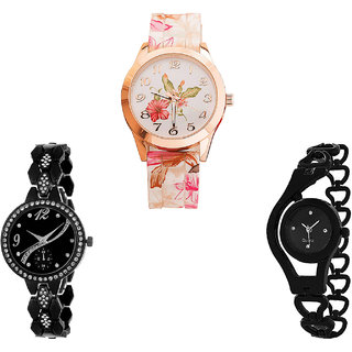 Neutron Classical Model Flower And Chain Analogue White And Black Color Girls And Women Watch - G305-G222-G68 (Combo Of  3 )