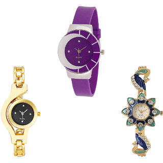 Neutron Latest Casual Chain And Peacock Analogue Purple And Gold Color Girls And Women Watch - G10-G336-G119 (Combo Of  3 )