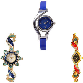 Neutron Latest Love World Cup And Peacock Analogue Blue And Gold Color Girls And Women Watch - G2-G119-G117 (Combo Of  3 )