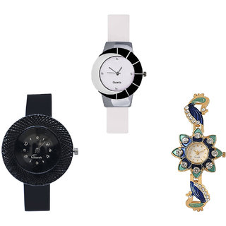 Neutron Latest 3D Design Chronograph And Peacock Analogue White, Black And Gold Color Girls And Women Watch - G11-G57-G119 (Combo Of  3 )