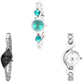 Neutron Best Royal Flower Dimond And Chain Analogue Silver Color Girls And Women Watch - G339-G352-G70 (Combo Of  3 )