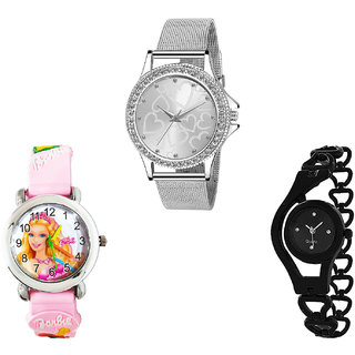 Neutron Contemporary Fashionable Love Valentine, Barbie Doll And Chain Analogue Silver, Pink And Black Color Girls And Women Watch - G280-G7-G68 (Combo Of  3 )