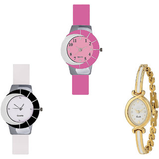 Neutron Best Branded  Analogue Pink, White And Gold Color Girls And Women Watch - G9-G11-G123 (Combo Of  3 )