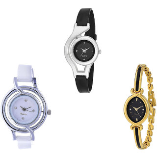 Neutron Best Traditional World Cup Analogue Black, White And Gold Color Girls And Women Watch - G1-G50-G121 (Combo Of  3 )
