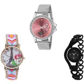 Neutron Modern Model Love Valentine, Paris Eiffel Tower And Chain Analogue Silver, Multi Color And Black Color Girls And Women Watch - G286-G310-G68 (Combo Of  3 )