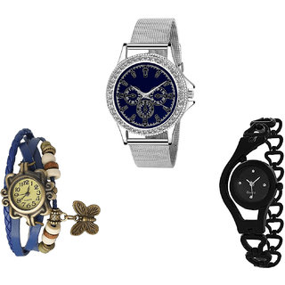 Neutron New 3D Design Butterfly And Chain Analogue Silver, Blue And Black Color Girls And Women Watch - G282-G59-G68 (Combo Of  3 )