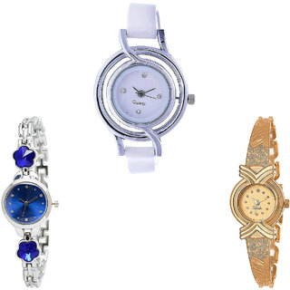 Neutron Modern Royal Flower Dimond Analogue White, Silver And Gold Color Girls And Women Watch - G50-G338-G265 (Combo Of  3 )