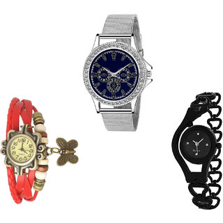 Neutron New Gift Butterfly And Chain Analogue Silver, Red And Black Color Girls And Women Watch - G282-G65-G68 (Combo Of  3 )