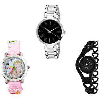 Neutron Latest Professional Barbie Doll And Chain Analogue Silver, Pink And Black Color Girls And Women Watch - G299-G322-G68 (Combo Of  3 )