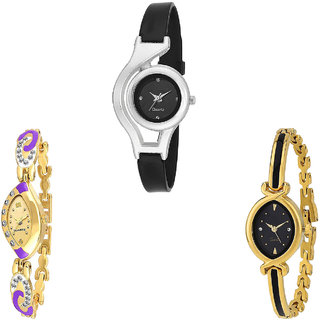 Neutron New Party Wedding World Cup Analogue Black And Gold Color Girls And Women Watch - G1-G124-G121 (Combo Of  3 )