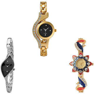 Neutron New 3D Design Chain And Peacock Analogue Gold And Silver Color Girls And Women Watch - G114-G352-G118 (Combo Of  3 )