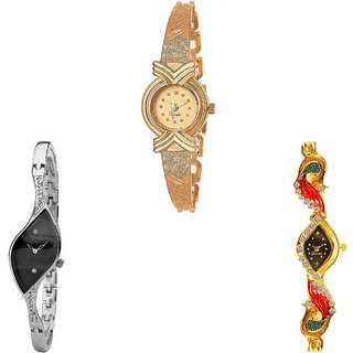 Neutron Latest Royal Peacock Analogue Gold And Silver Color Girls And Women Watch - G265-G352-G117 (Combo Of  3 )