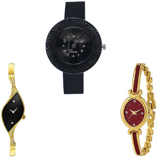 Neutron Latest Love Chronograph Analogue Black And Gold Color Girls And Women Watch - G57-G354-G122 (Combo Of  3 )