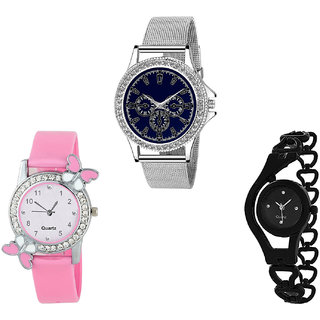 Neutron Latest Royal Butterfly And Chain Analogue Silver, Pink And Black Color Girls And Women Watch - G282-G99-G68 (Combo Of  3 )