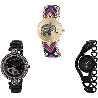 Neutron Treading Style Elephant, Love Valentine And Chain Analogue Multi Color And Black Color Girls And Women Watch - G311-G332-G68 (Combo Of  3 )