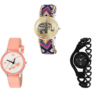 Neutron Treading Traditional Elephant, Love Valentine And Chain Analogue Multi Color, Orange And Black Color Girls And Women Watch - G311-G344-G68 (Combo Of  3 )