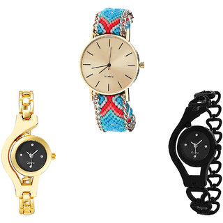Neutron Best Traditional Chain Analogue Multi Color, Gold And Black Color Girls And Women Watch - G315-G336-G68 (Combo Of  3 )