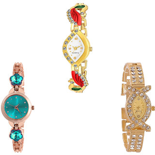Neutron Latest Model Peacock And Flower Dimond Analogue Gold And Rose Gold Color Girls And Women Watch - G116-G341-G125 (Combo Of  3 )