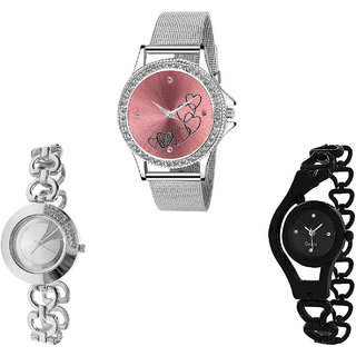 Neutron Contemporary Collection Love Valentine And Chain Analogue Silver And Black Color Girls And Women Watch - G286-G384-G68 (Combo Of  3 )