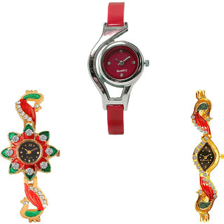 Neutron Brand New Technology World Cup And Peacock Analogue Red And Gold Color Girls And Women Watch - G5-G120-G117 (Combo Of  3 )