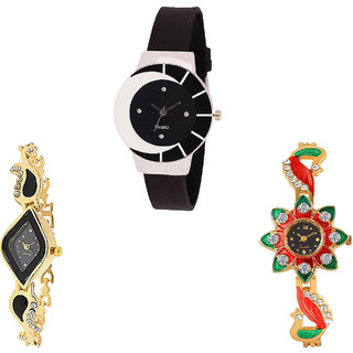 Neutron Classical Italian Designer Peacock Analogue Black And Gold Color Girls And Women Watch - G8-G266-G120 (Combo Of  3 )