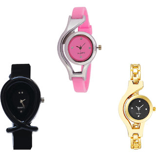 Neutron Treading Traditional World Cup, Fish Shape And Chain Analogue Pink, Black And Gold Color Girls And Women Watch - G3-G55-G336 (Combo Of  3 )