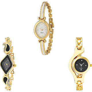 Neutron Contemporary High Quality Chain Analogue Gold Color Girls And Women Watch - G123-G266-G336 (Combo Of  3 )