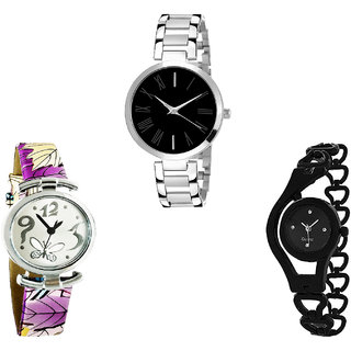 Neutron Modern Valentine Butterfly And Chain Analogue Silver, Purple And Black Color Girls And Women Watch - G299-G416-G68 (Combo Of  3 )