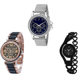 Neutron Modern High Quality Chain Analogue Silver And Black Color Girls And Women Watch - G282-G209-G68 (Combo Of  3 )