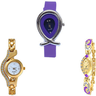 Neutron Modern Love Fish Shape And Chain Analogue Purple And Gold Color Girls And Women Watch - G54-G115-G124 (Combo Of  3 )