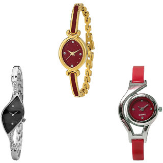 Neutron Latest Quartz World Cup Analogue Gold, Silver And Red Color Girls And Women Watch - G122-G352-G5 (Combo Of  3 )