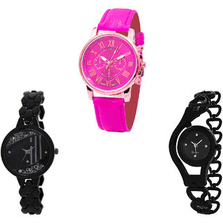 Neutron Brand New Fashionable Chronograph And Chain Analogue Pink And Black Color Girls And Women Watch - G308-GL221-G68 (Combo Of  3 )