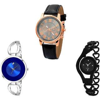 Neutron Latest Valentine Chronograph And Chain Analogue Black And Silver Color Girls And Women Watch - G306-G267-G68 (Combo Of  3 )