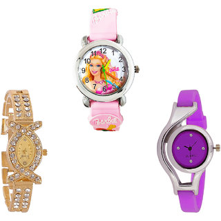 Neutron Brand New Designer Barbie Doll And World Cup Analogue Pink, Gold And Purple Color Girls And Women Watch - G7-G125-G4 (Combo Of  3 )