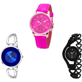 Neutron Contemporary Casual Chronograph And Chain Analogue Pink, Silver And Black Color Girls And Women Watch - G308-G267-G68 (Combo Of  3 )