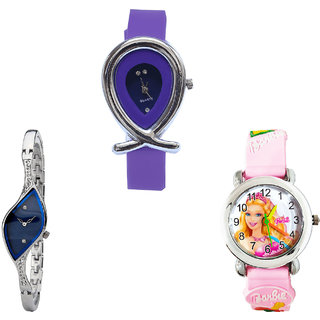 Neutron Best Present Fish Shape And Barbie Doll Analogue Purple, Silver And Pink Color Girls And Women Watch - G54-G353-G7 (Combo Of  3 )
