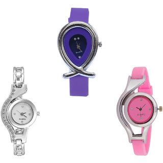 Neutron Treading Luxury Fish Shape And World Cup Analogue Purple, Silver And Pink Color Girls And Women Watch - G54-G404-G3 (Combo Of  3 )